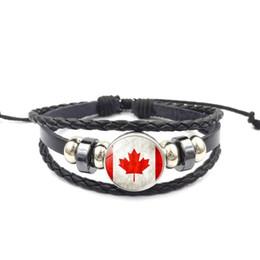 Wholesale costume national men - National Flag Glass Buckle Multilayer Charm Bracelet Retro Punk Jewelry Black Leather Bracelet Men Women Adjustable 2018 World Cup Wholesale