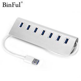 Портовый алюминиевый usb-концентратор онлайн-BinFul алюминия 7 портов USB 3.0 концентратор высокоскоростной 5 Гбит / с сплиттер Портативный USB-концентратор 3.0 для портативных ПК компьютер с 35 м кабель для передачи данных