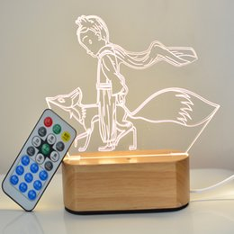 Wholesale plastic fox - 3D Stereo Table Light Wood Base Little Prince Fox Rose Night Lamp Cartoon Hand Made LED Lights Top Quality 33yx B