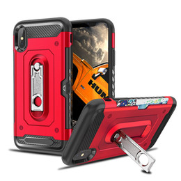 iphone zurück fall stehen Rabatt Für iphone X XS Max Fall Dual Layer Rüstung Fall Stoßfest Hart Kreditkarteninhaber Standplatz Für iphone 7 8 plus SCA503