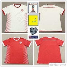 0aa060e7d6d 2018 World Cup Tunisia Soccer Jersey 7 Msakni 10 Khazri 23 Sliti Wahbi  Khaoui FAKHREDDINE HAMZA Blank Customize Red White Football Shirts