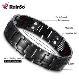 Discount titanium magnetic therapy bracelet - RainSo Male Bracelet Health Germanium Bracelet Charm Black Titanium Magnetic Therapy Bangles Unique Wristband Men Jewelry 1316