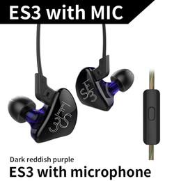 Kz estéreo online-2 unidades KZ ES3 Híbrido Dinámico Equilibrado Auriculares Auriculares En el Oído HIFI Estéreo Auriculares deportivos Auriculares Bluetooth adecuados con micrófono libre de DHL