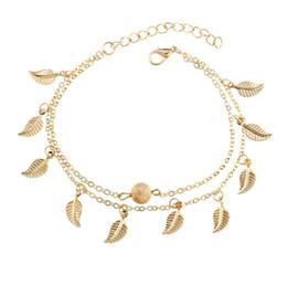 Frauen Gold Leaf Charm Fußkettchen Echt Fotos Gold Kette Knöchel Armband Mode 18 Karat Gold Fuß Fußschmuck von Fabrikanten