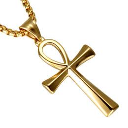 Египетские золотые прелести онлайн-Нержавеющая сталь египетский Анк крест для мужчин ювелирных изделий Gold-Color Крест Life Амулет Ключевые Подвески Цепи кулон ожерелье подарок