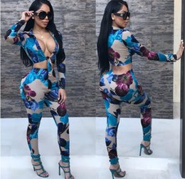 Wholesale united digital - Europe and the United States women's fashion digital printing strap casual long-sleeved pants two-piece suit female