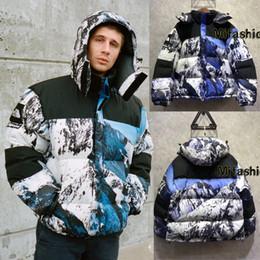 Wholesale Men Snow Coats - Europe Box Logo Snow Mountain Collab Windproof jacket 17AW Warm Down Parkas Jacket Coat