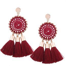 Сексуальные серьги обруча онлайн-Knitted Mesh Tassel Earring Drop Earrings S925 Pin Bohemia Vintage Jewelry Long Hoop Women's Catkins Fashion Sexy Hand Made 2018