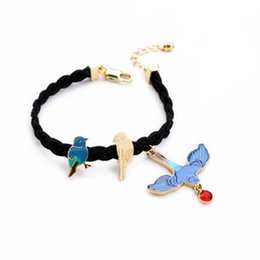 cute bracelet korean fashion Coupons - Korean Style Young Swallow String Knit Bracelet Lovely Birds Cute Pendant Delicate Bracelet for Women Fashion Jewelry Hot Sale
