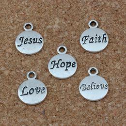 Hope Believe Love Faith Jesus Charms Pendants 100Pcs lot 11.5x15.5mm Antique Silver Fashion Jewelry DIY Fit Bracelets Necklace Earrings A-23
