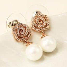 Wholesale korean flower earrings jewelry - Hot Sale Rose Gold Plated Flower Drop Earrings Korean Pearl Dangle Earrings Fashion Crystal Earrings Vintage Jewelry Accessories