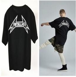 Wholesale Metallica Top - Black METALLICA Letters Tshirts Men Long Loose Casual Hi-street Rock Vintage Tees Oversize Summer Tops Short Sleeves