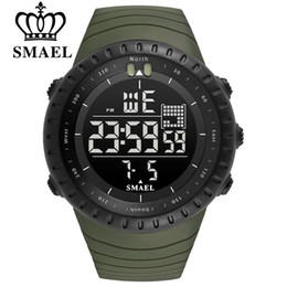SMAEL Men Outdoor Sports Electronic chronograph 2018 New Men's Watch Big Dial Digital 50M waterproof Digital LED Wrist Watches Deals