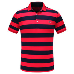 bee tee shirts Promo Codes - High Quality Applique Summer T Shirts Men Black Red Turn Down Collar Short Sleeves Bees Embroidery Striped Tee Tops