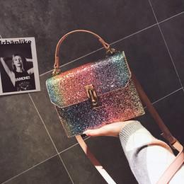 Wholesale Wholesale Small Silver Crosses - Rainbow Sequins Handbags On the Bew Packet 2018 New ins Shoulder Diagonal Handbags Small Square Bag