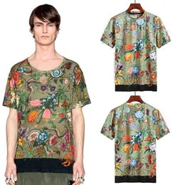 Wholesale Army Camo Print - Italy Luxury t shirts Mens Floral 3D Print Camouflage Tee T-shirts European American Designer Camo Short Sleeve Summer 2018 Cotton tshirt