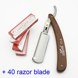 Wholesale Hair Cutting Razor Blades - 77-A barber hair cut razor hair tonsure knife High Quality, Replaceable blade razor Double blade shaving+40