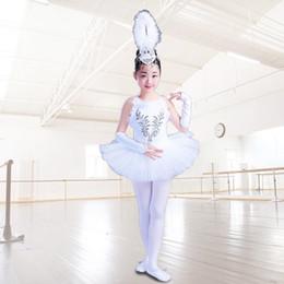 suspensórios de dança Desconto Meninas Pouco Swan Dança Saia Tutu Traje Crianças Brancas Vestido de Bailarina Crianças Suspensórios Véu Princesa Traje de Dança de Natal