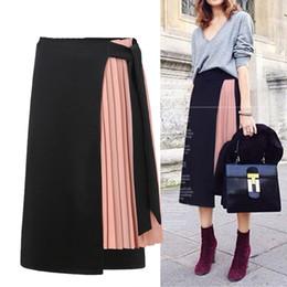 Forro de poliéster de gasa online-Las mujeres de verano falda de poliéster ocasional de la gasa Asimetría de cintura alta falda con cremallera Moda streetwear A-line faldas largas