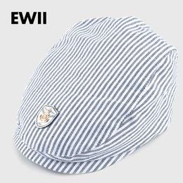 Wholesale flat hats for kids - 2017 Spring and autumn kids beret hats for boy cotton newsboy cap boina girl leisure striped hat bone child flat caps feminino