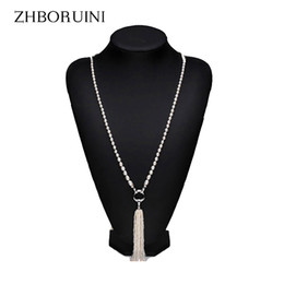 Wholesale Long Necklace Freshwater Pearls - whole saleZHBORUINI Fashion Long Multilayer Pearl Necklace Freshwater Pearl Tassels Women Accessories Statement Necklace Jewelry For Women