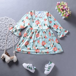Wholesale Chinese Style Flower Girl Dresses - Baby Girls Princess Flower Long Sleeve Tutu Dress Lovely Kid Girl Toddler Spring Floral Party Pageant Flare Sleeve Comfy Dresses 2-7T