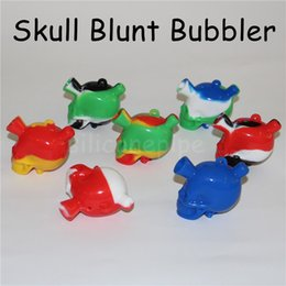 kit blunt Promo Codes - Silicone Nectar Collector kits with domeless 10mm male ti Nail nector collector oil rig skull silicon Glass blunt bubbler mini silicone bong