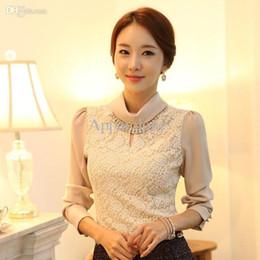 Одежда оптом НОВЫЕ женские офисные рубашки с длинным рукавом весна корейский стиль женская мода элегантный кружева водолазка формальные блузки S-XXL cheap formal apparel от Поставщики официальная одежда