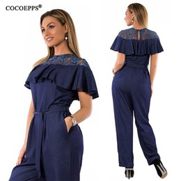 48b6f8858c 5XL 6XL Plus Size Summer jumpsuits for women 2018 Lace Ruffles Big Size Rompers  Overalls Large Female Casual Jumpsuit Women discount big women rompers