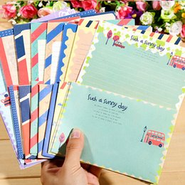 4pcs / lot Busta di carta del vento della marina dell'annata + carta da lettere Creativo della cartolina d'auguri dei regali di cancelleria per l'invito della lettera di nozze da