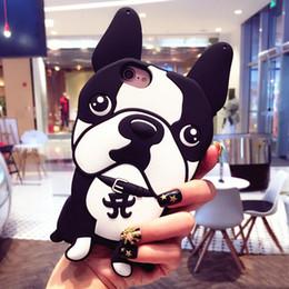 Fundas para iphone bulldogs online-3D Dog French Bulldog funda de silicona suave para iPhone 7 8 Plus 6 6s Plus X sin cadena de perlas Capa Funda