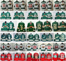 maillot de hockey ryan suter Promotion 2019 New Minnesota Wild 9 Mikko Koivu 11 Zach Parise 16 Jason Zucker 20 Ryan Suter 36 Mats Zuccarello 40 Devan Dubnyk Maillots