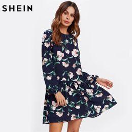 Wholesale Drop Waist Dress L - SHEIN Allover Flower Print Drop Waist Dress Ladies Navy Long Sleeve Autumn Womens Dresses Elegant Floral A Line Dress