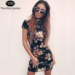 Wholesale oriental print dress - NewAsia Garden fashion Oriental bodycon floral print dress women backless bandage lace up sexy dress Casual party mini New