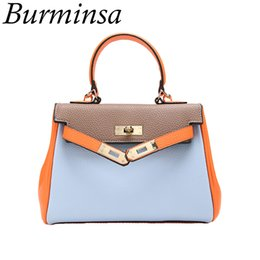spring totes Promo Codes - Burminsa Spring Hit Color Lichee Pattern Handbags Lock Tote Shoulder Bags Designer Brand High Quality Women Crossbody Bags 2018