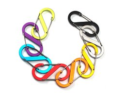 Wholesale Locking Keychain - Mix Color Small 8 Shape Outdoor Aluminum Alloy Survival Buckle Locking Carabiner Keychain Tools Wholesale Support FBA Drop Shipping G676F