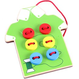 2019 scie de jeu Baby String perles jouets en bois vu boutons boutons Intelligence jouets 18x14cm enfants bricolage jeux de bricolage scie de jeu pas cher