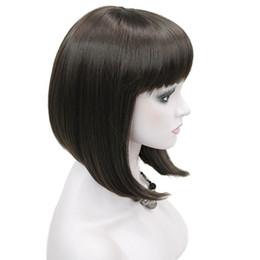 ordentliche ponyperücke Rabatt StrongBeauty Damen Perücken ordentliche Bang Bob Stil kurze glatte Haare schwarz / blonde synthetische volle Perücke 6 Farbe