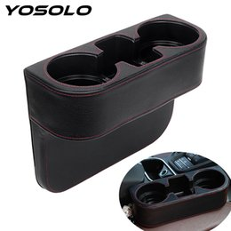 Wholesale Drink Phone Case - YOSOLO PU Car Seat Crevice Storage Box Auto Organizer Seat Drink Phone Holder Stand Case Universal Stowing Tidying Car-styling