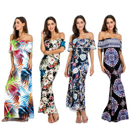 Vestido de uma peça de praia wrap on-line-Lady tamanho grande S-5XL sexy fora do Ombro envolto peito de uma peça de praia longo dress mulheres plus prints falbala beach party dress