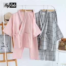 Wholesale Couples Onesies - Summer 100% cotton simple stripe kimono dressing gown for men pajamas sets couples long-sleeve japanese kimono robe haori