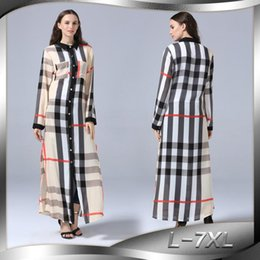 Canada 2018 Femmes Islamique Robe Col Rabattu Manches Longues Plus La Taille 7XL Plaid Femmes Musulman Dress Abaya Turc Caftan Dubai Robes Offre