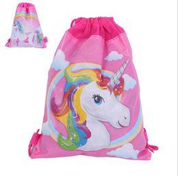Wholesale Cartoon School Backpacks - 34*27 cm Unicorn Drawstring Backpack Girls Princess Kids Theme Party Backpack Candy Bags School backpack KKA4463