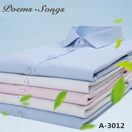 manga larga Sconti PoemsSongs 2018 camisa sociale masculina camisas hombre manga larga Camicia bianca formale manica lunga camicie da uomo casual taglie grandi