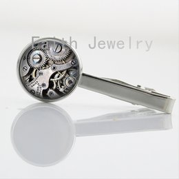 Wholesale Clocks Images - Hot sale steam punk Clock Image tie clips elegant beautiful nature insect Butterfly Dragonfly Watch art Picture tie bar NS053