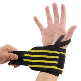 Wholesale body building bar - Wrist Protector Wrap Brace Sports Fitness Horizontal Bar Bandage Weight Lifting Body Building Training Wrist Support For Tennis