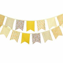 12 bandiere 3.5 m bella giallo cinque angolo tessuto di cotone stendardo bandiera bandiera banner ghirlanda baby shower casa decorazione del partito da