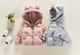 Wholesale Pad Ear - Winter Baby Jacket Girl Bear's Ear Smile Face Cotton Coat Kids Cartoon Warm Top Cotton Padded Coat