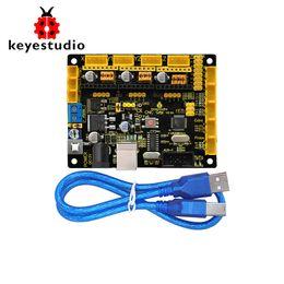 Cables usb blindados online-Nuevo Keyestudio CNC GRBL V0.9 Shield Board + Cable USB para Arduino CNC / Laser Engraving