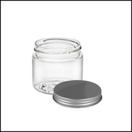 Pot en aluminium cosmétique en gros en Ligne-Pot 2oz en verre avec couvercle en aluminium contenant cosmétique Transparent Dab Jar pour Cire à l'huile épaisse DHL gratuit